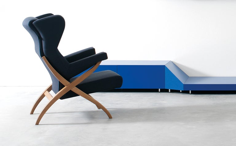 Arflex Fiorenza Armchair in Steelcut Blue Fabric & Black Frame by Franco Albini For Sale 2