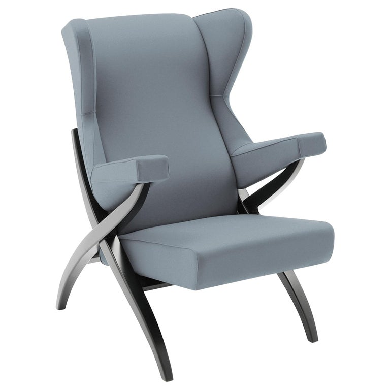Arflex Fiorenza Armchair in Steelcut Blue Fabric & Black Frame by Franco Albini For Sale