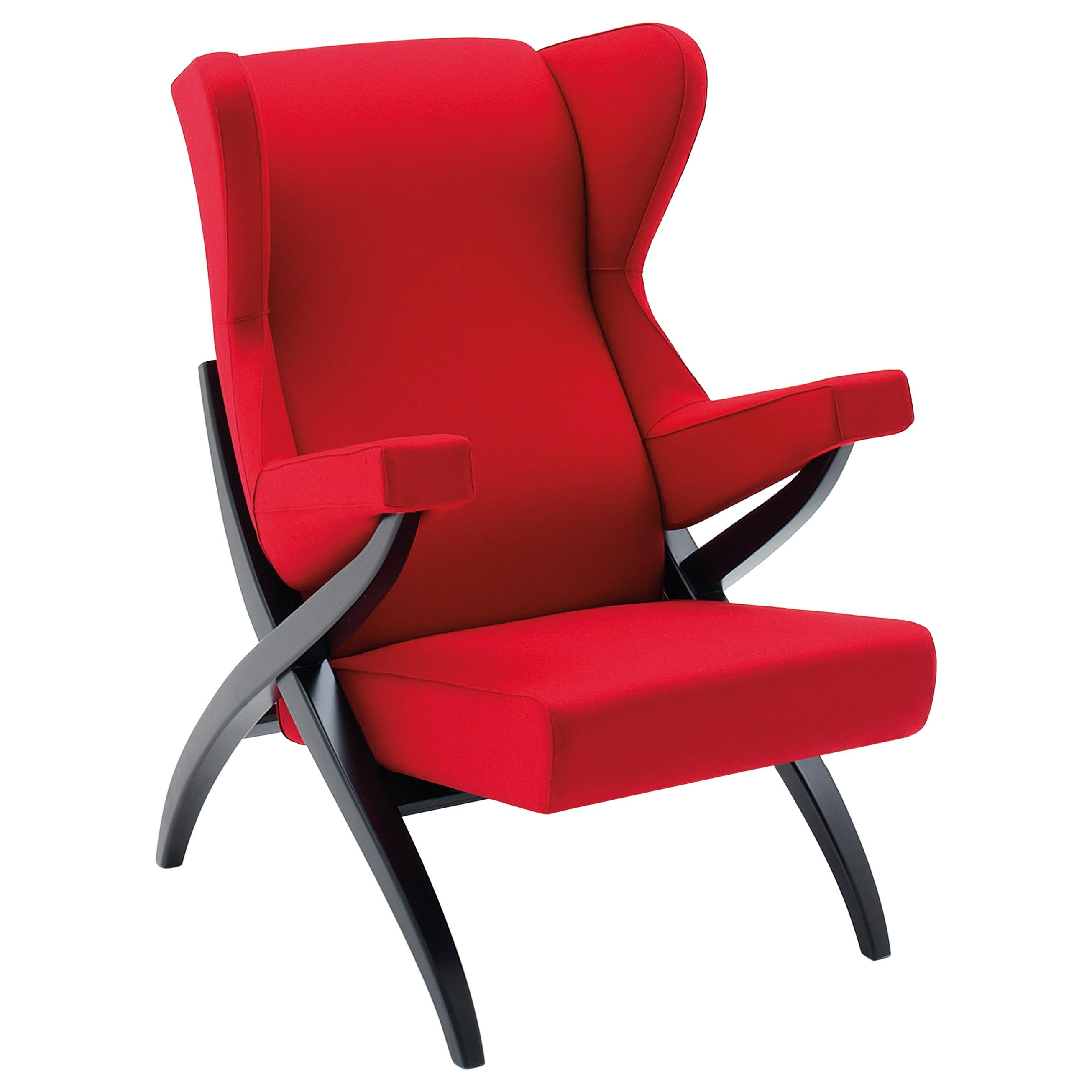 Arflex Fiorenza Armchair in Steelcut Red Fabric and Black Frame by Franco Albini