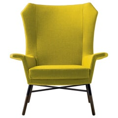 Arflex Giulietta Armchair in Lama Fabric with Walnut Base by BBPR