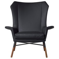 Arflex Giulietta Armchair in Leather Giada with Oak Base by BBPR
