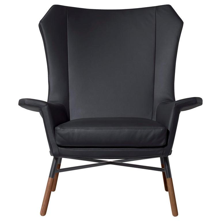 Arflex Giulietta Armchair in Leather Giada with Oak Base by BBPR For Sale
