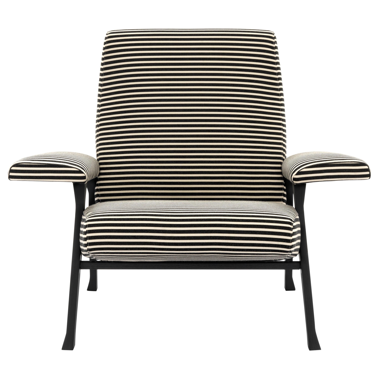 Arflex Hall Armchair Black & White Riga Fabric and Wenge Legs by Roberto Menghi