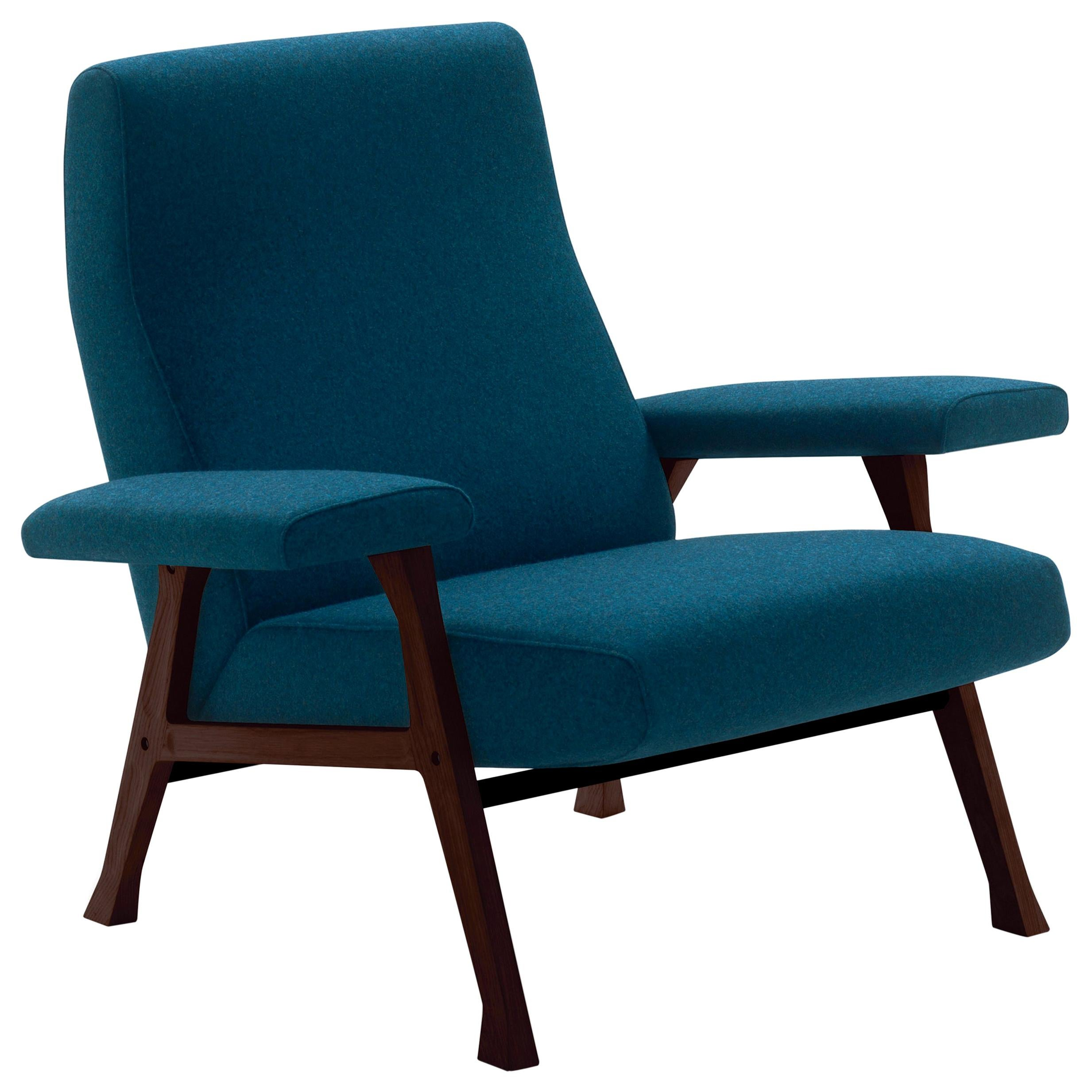 Arflex Hall Armchair in Blue Divina Fabric and Wood Legs by Roberto Menghi