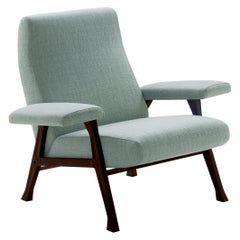 Arflex Hall Armchair in Light Blue Lucky Fabric and Wood Legs by Roberto Menghi