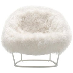 Arflex Katrin Armchair in Natural Fur with White Metal Legs by Carlo Colombo