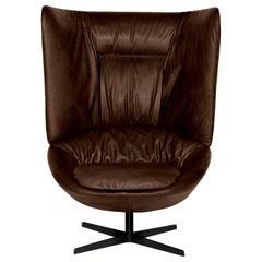 Arflex Ladle Armchair with High Backrest in Giada Leather by Luca Nichetto