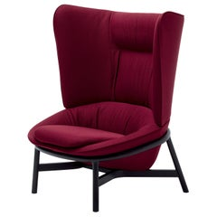 Arflex Ladle Armchair with High Backrest in Red Etoile Fabric by Luca Nichetto