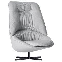Arflex Ladle Swivel Armchair with Medium Backrest in Fabric by Luca Nichetto