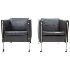 Arflex Leather Lounge Chairs Model Felix