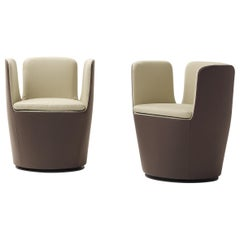 Arflex Mojo Armchair in Brown Fabric and Swivel Base by Claesson Koivisto Rune