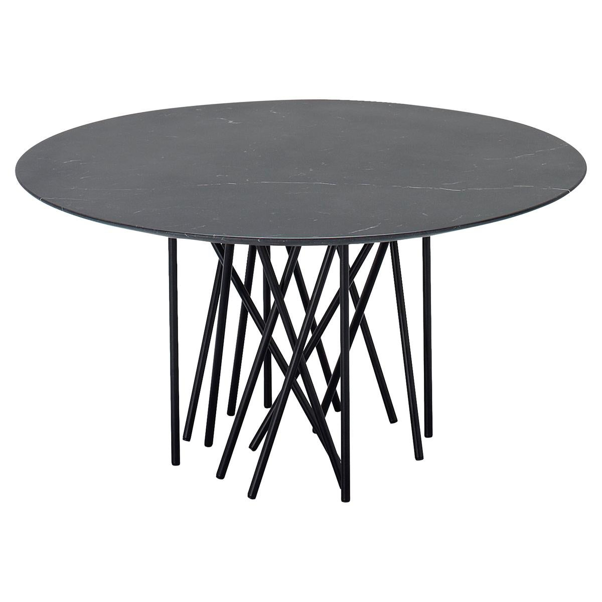Arflex Octopus 80cm Table in Marquinia Marble with Black Base by Carlo Colombo