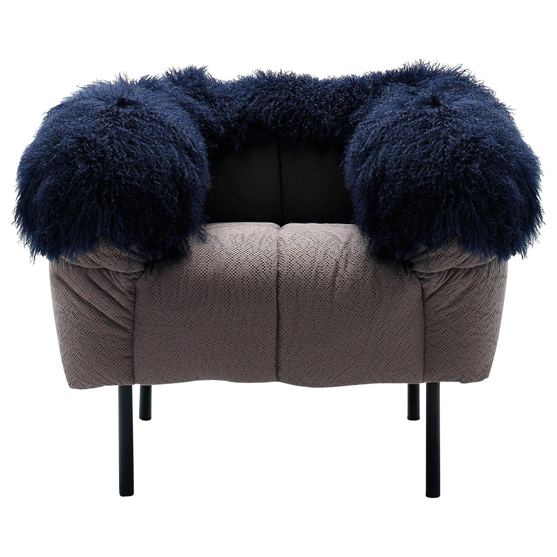 Arflex Pecorelle Armchair in Denver Fabric and Black Fur Corners by Cini Boeri