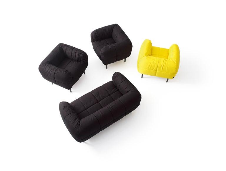 Modern Arflex Pecorelle Sofa in Denver Fabric with Black Metal Legs by Cini Boeri For Sale