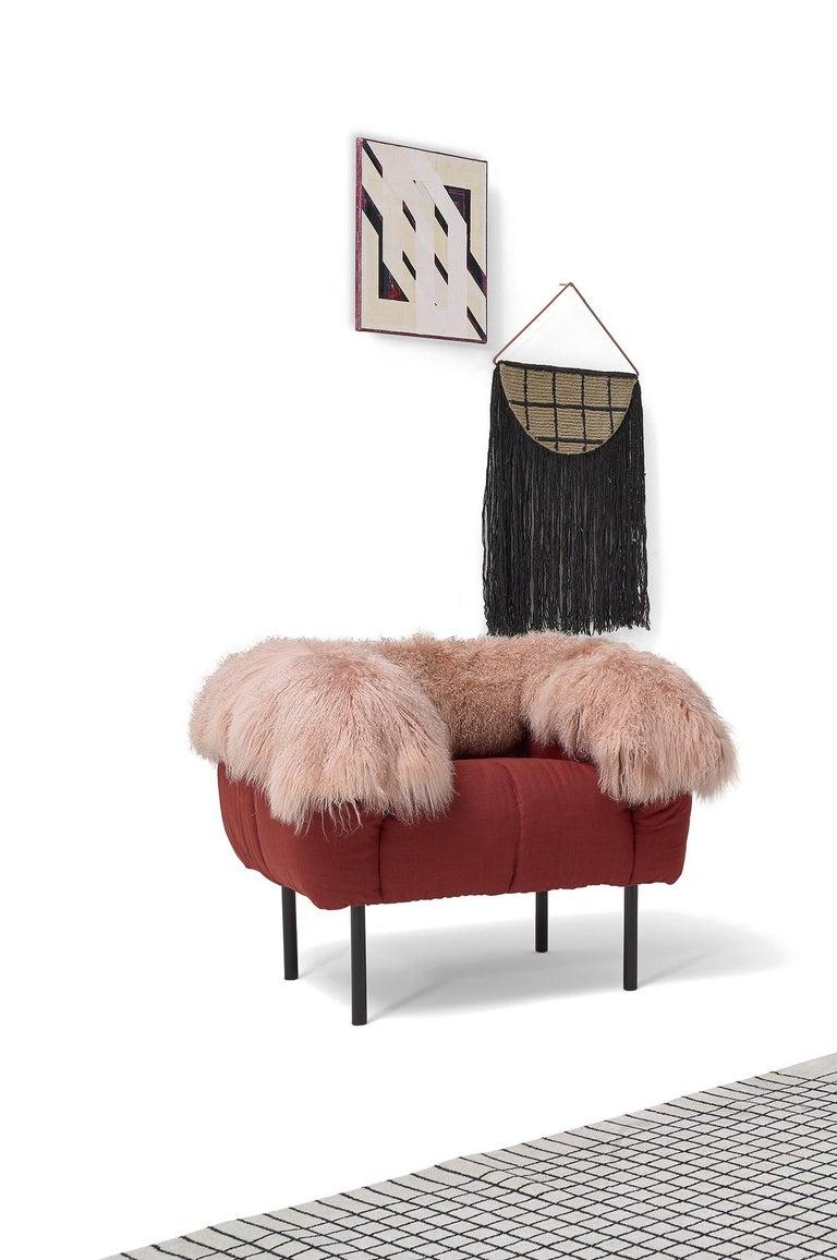 Italian Arflex Pecorelle Sofa in Denver Fabric with Black Metal Legs by Cini Boeri For Sale