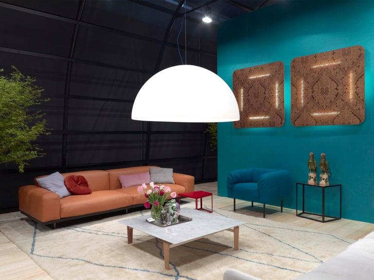 Contemporary Arflex Pecorelle Sofa in Denver Fabric with Black Metal Legs by Cini Boeri For Sale