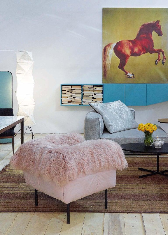 Arflex Pecorelle Sofa in Denver Fabric with Black Metal Legs by Cini Boeri For Sale 1