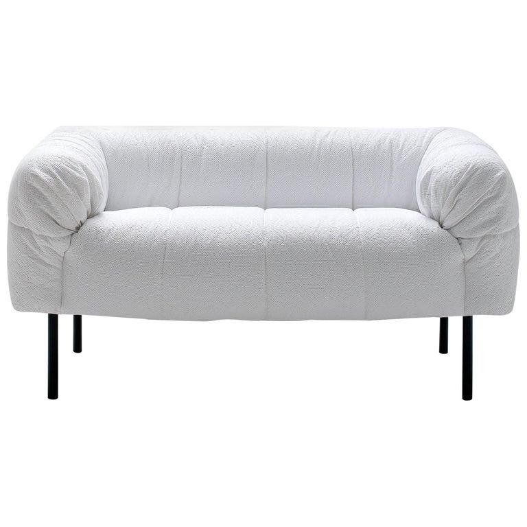 Arflex Pecorelle Sofa in Denver Fabric with Black Metal Legs by Cini Boeri For Sale