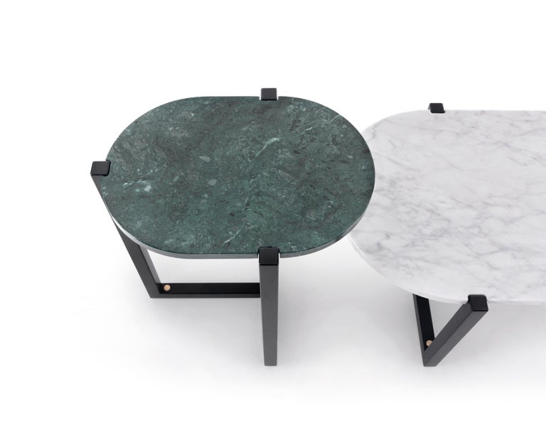 Modern Arflex Sigmund Small Table in Black Marquinia Top with Metal Base by Studio Asai For Sale