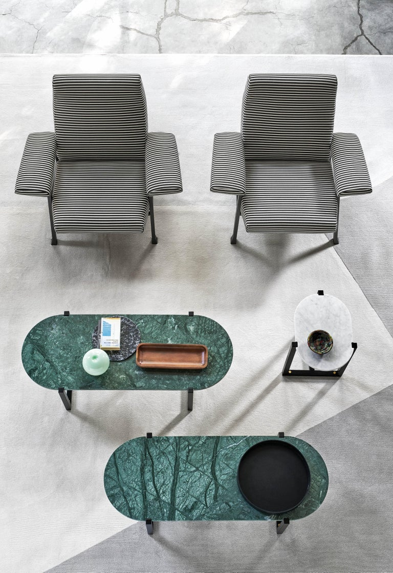 Italian Arflex Sigmund Small Table in Black Marquinia Top with Metal Base by Studio Asai For Sale