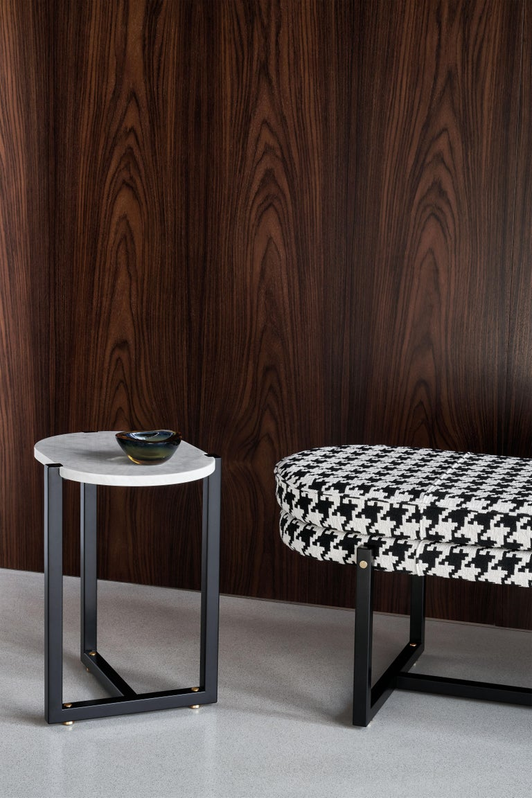 Marble Arflex Sigmund Small Table in Black Marquinia Top with Metal Base by Studio Asai For Sale