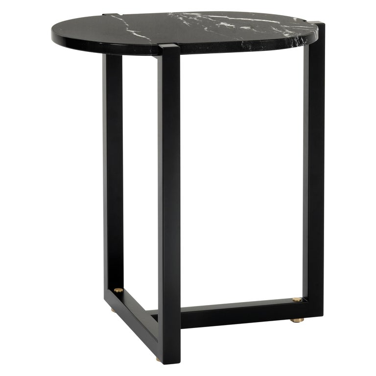 Arflex Sigmund Small Table in Black Marquinia Top with Metal Base by Studio Asai For Sale