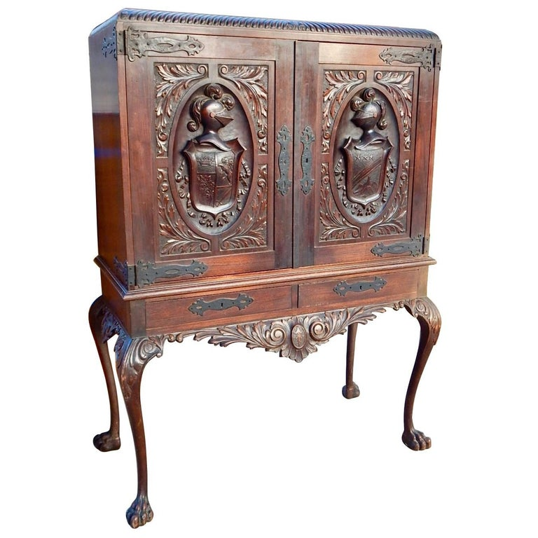 Argentine Spanish Colonial Heraldic Theme Storage Cabinet Circa 1920