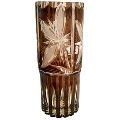 Argentinean Cut Crystal Lily Floral Design Amber Brown & Clear Glass Flower Vase