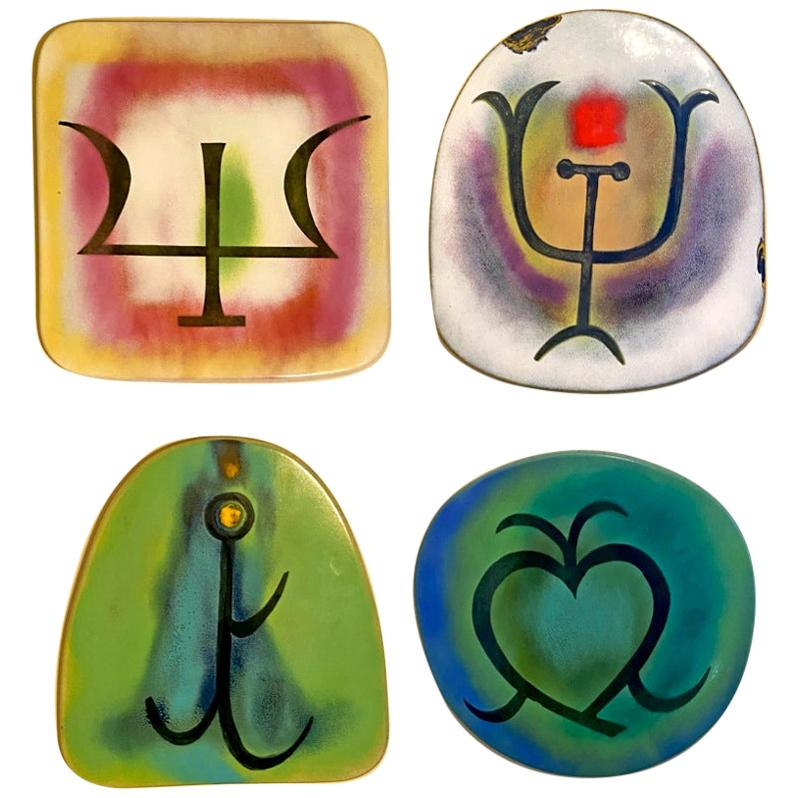 Argentinian Cattle Brand Symbols on Metal Enamel Wall Plaques