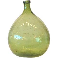 Argentinian Peridot Green Demijohn Optical Glass Wine Jug