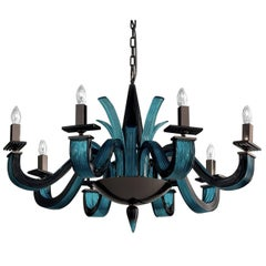 Argo Black and Aquamarine Chandelier with Eight Lights