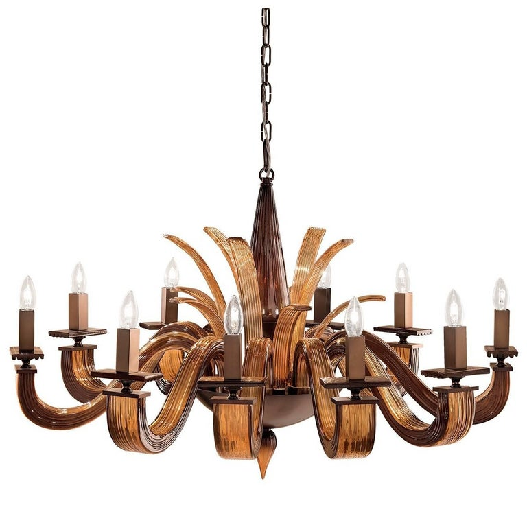 Argo Brown and Amber Chandelier Ten Lights For Sale