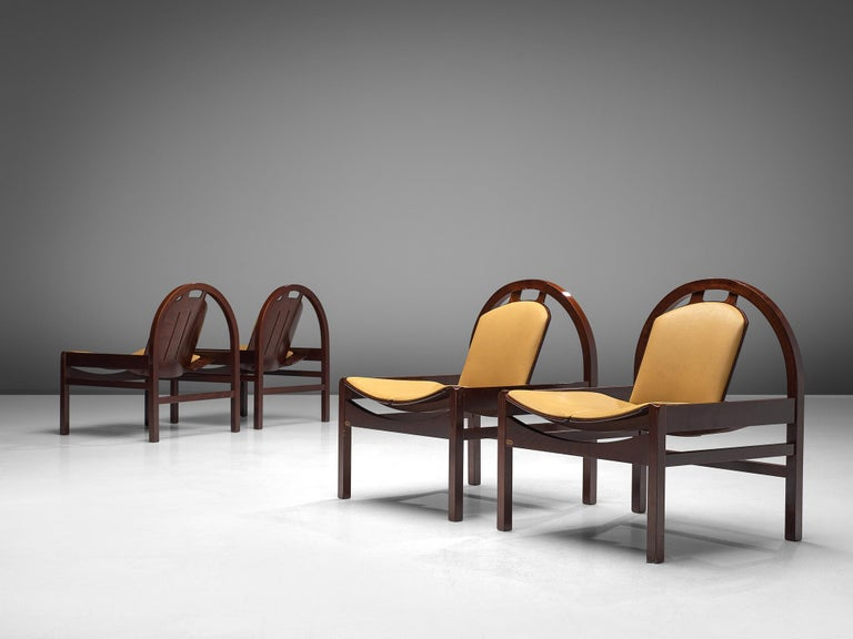 Mid-Century Modern 'Argos' Lounge Chairs by Baumann in Beech and Leather For Sale