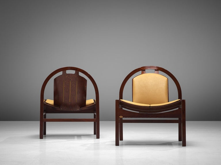 Late 20th Century 'Argos' Lounge Chairs by Baumann in Beech and Leather For Sale