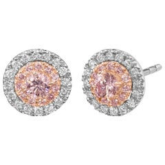 Argyle Certified Pink Diamond Halo Studs