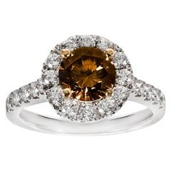 Argyle Cognac Diamond Cluster Ring Set in 18 Carat White Gold and Yellow Gold