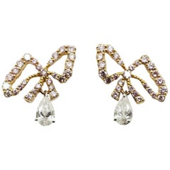 Argyle Pink Diamond Bows with White Pear Shape Diamond Dandling Clip-on Earrings