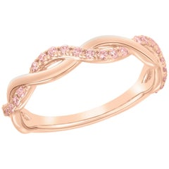 Argyle Pink Diamond Twist Band for Stackable or Wedding