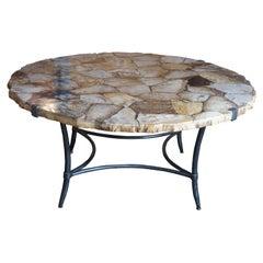 Arhaus Boracay Rustic Round Petrified Wood & Iron Mosaic Coffee Cocktail Table