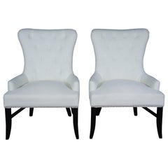 Arhaus Claybourne Upholstered Dining Armchairs Tufted Wingback Modern Seating