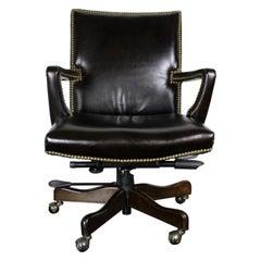 Arhaus Martello Imperial Regal Brown Leather Nailhead Desk Office Swivel Chair