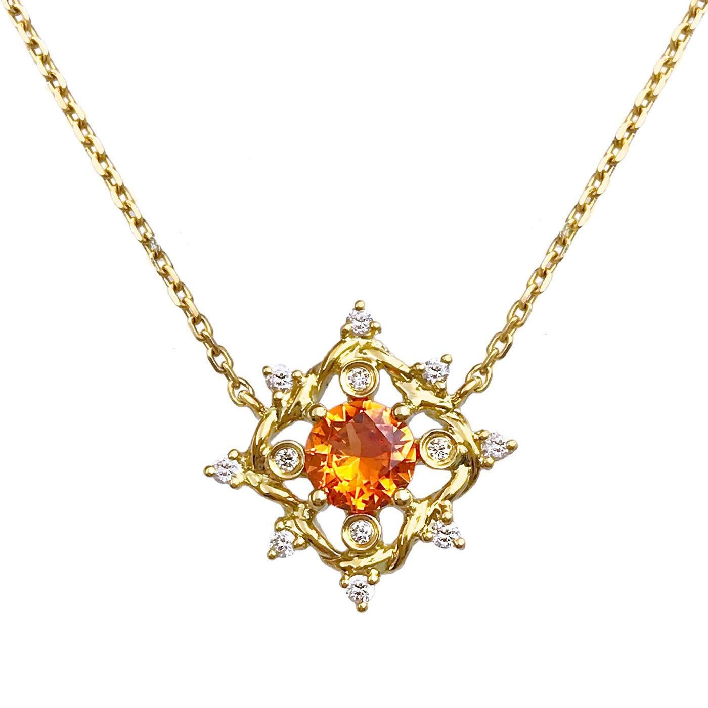 Ari Orange Sapphire Pendant Necklace 14K Yellow Gold 0.10TCW Diamonds