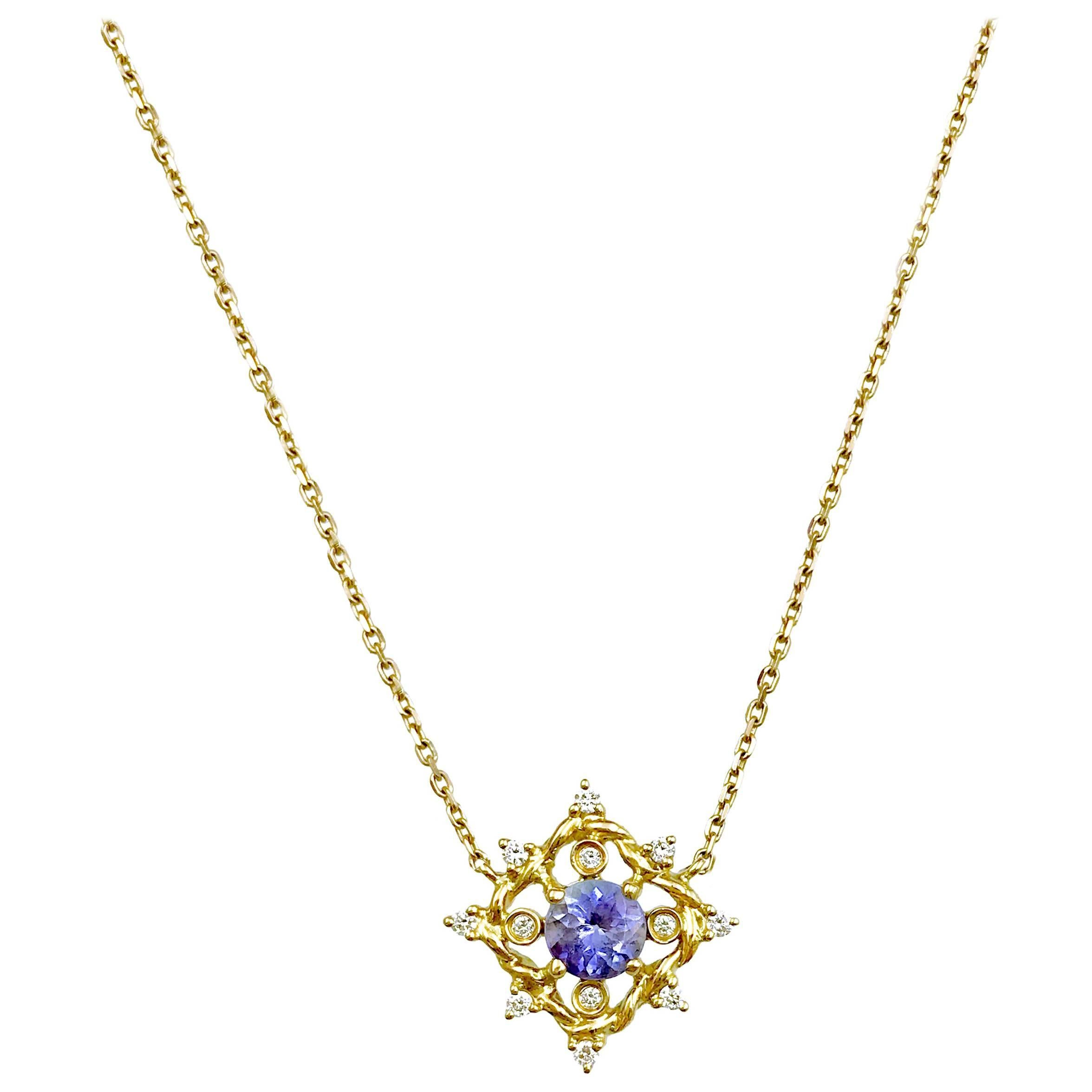 Ari Tanzanite Petite Pendant Necklace 14 Karat Gold 0.10 Carat Diamonds in Stock
