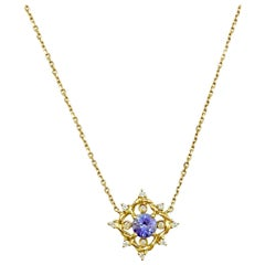Ari Tanzanite Petite Pendant Necklace 14 Karat Gold 0.10 Carat Diamonds in Stock