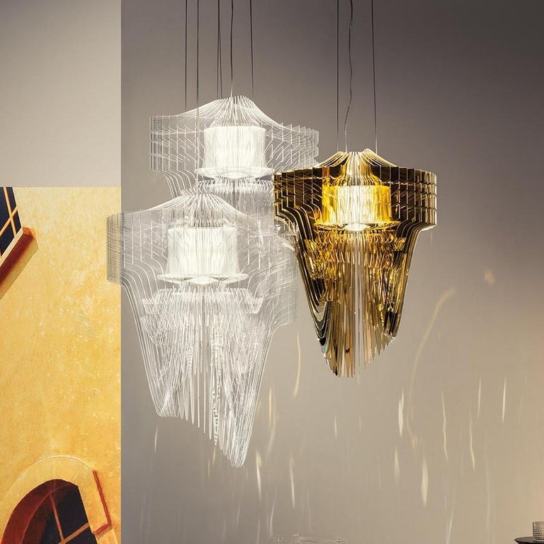 Modern Aria Transparent Suspension Lamp by Zaha Hadid, in Stock in Los Angeles For Sale