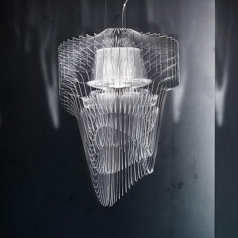 Italian Aria Transparent Suspension Lamp by Zaha Hadid, in Stock in Los Angeles For Sale
