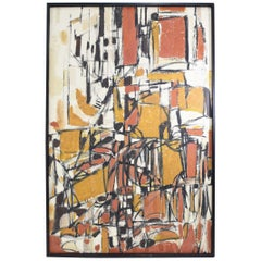 Ariadna Liebau Oil on Canvas, 1950s in Black, Terracotta and Gold