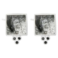 Ariana Black Tourmalated Silver Stud Earrings