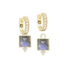 Ariana Labradorite 18 Karat Gold Earrings