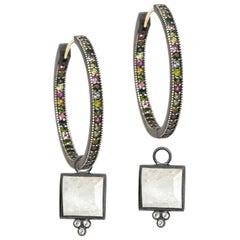 Ariana Moonstone Charms and Intricate Tourmaline Oxidized Hoop Earrings